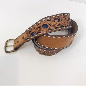 Vintage Tooled Leather Belt Embossed Flowers